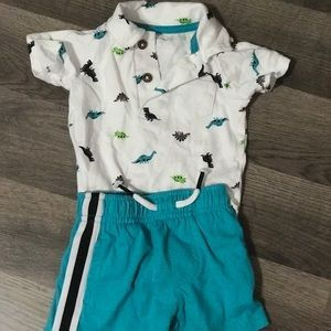 Baby boy dinosaur themed outfit